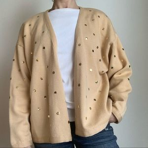 Vintage Escada camel gold accent wool cardigan